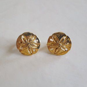 [EUC] Napier Gold-Tone Sand Dollar Earrings